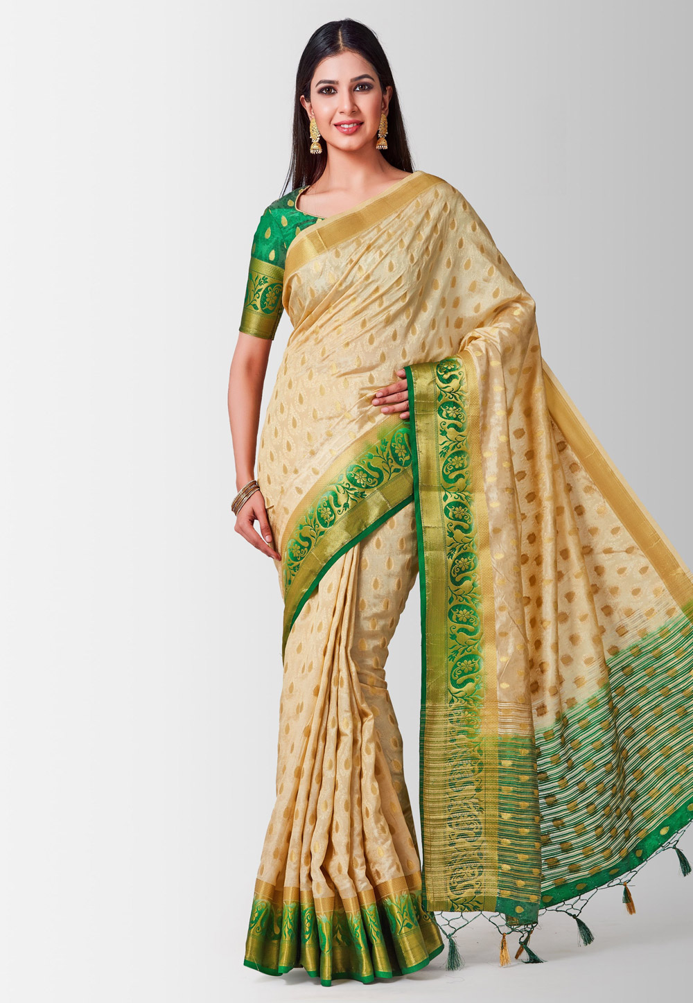 Beige Kanjivaram Silk Saree With Blouse 185976