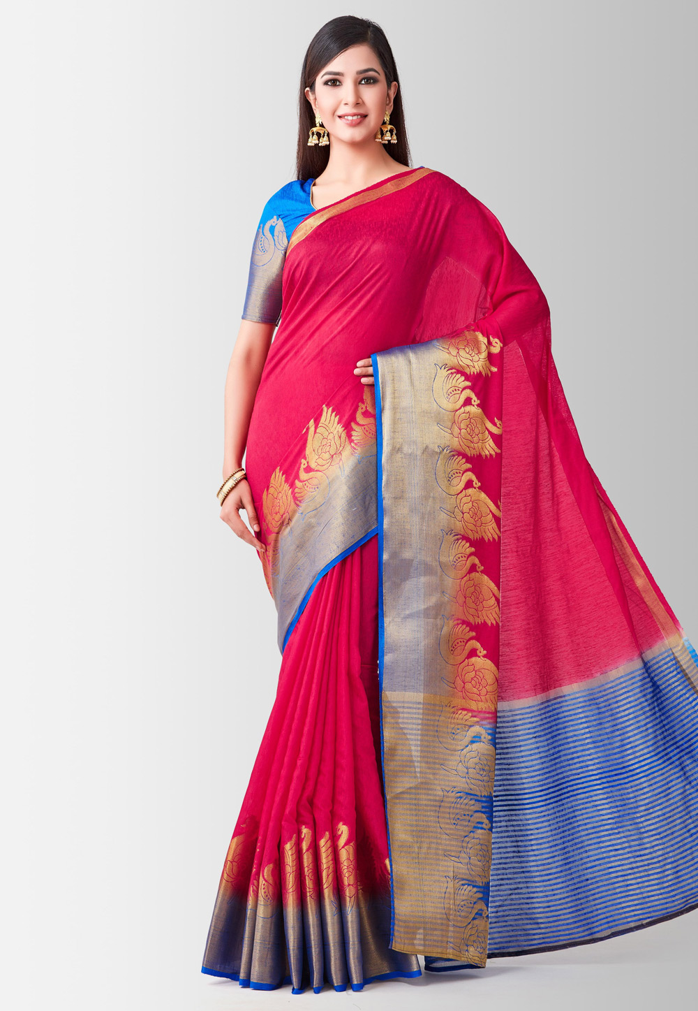 Magenta Silk Saree With Blouse 185982