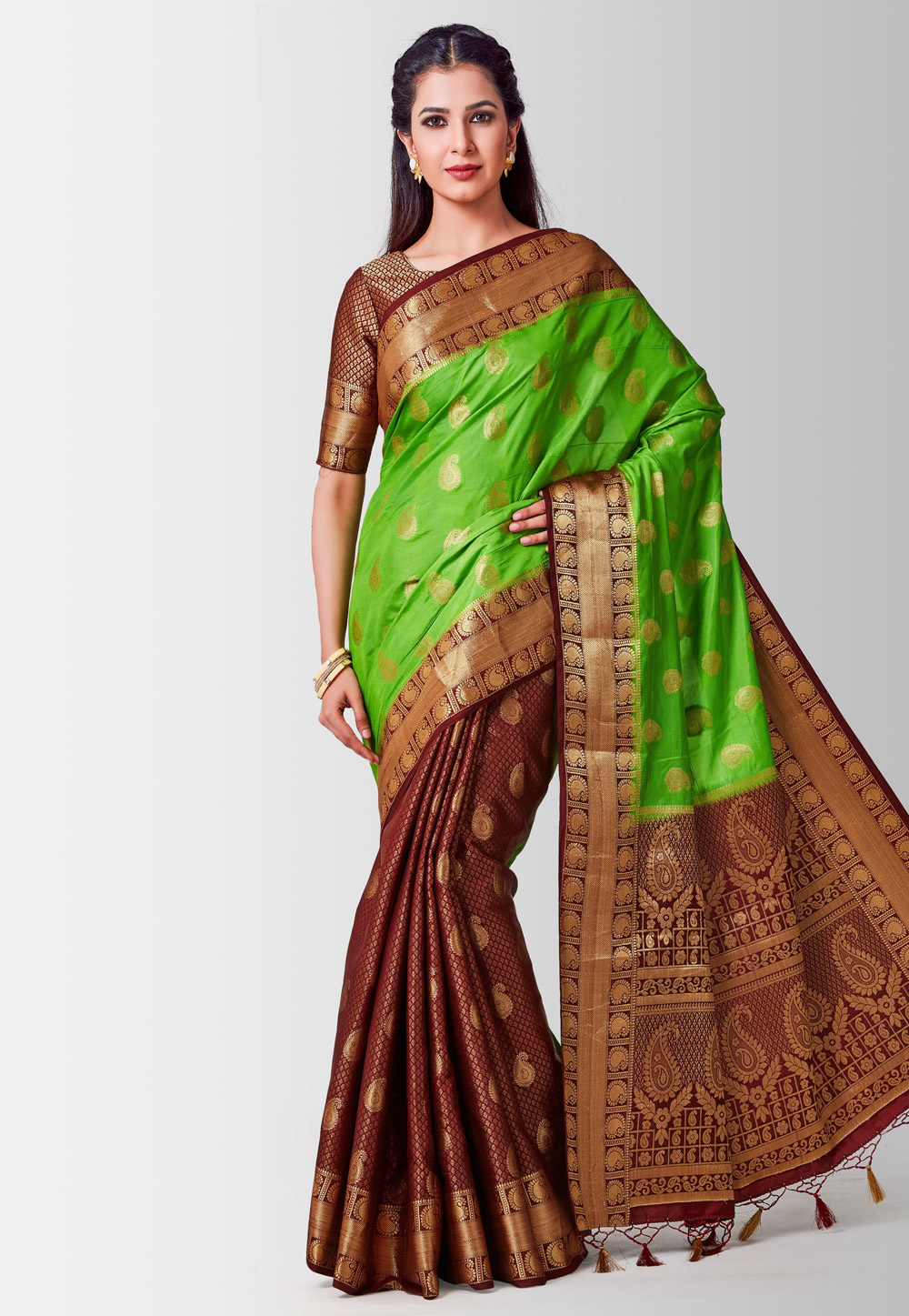 Maroon Kanjivaram Silk Half and Half Saree 185990