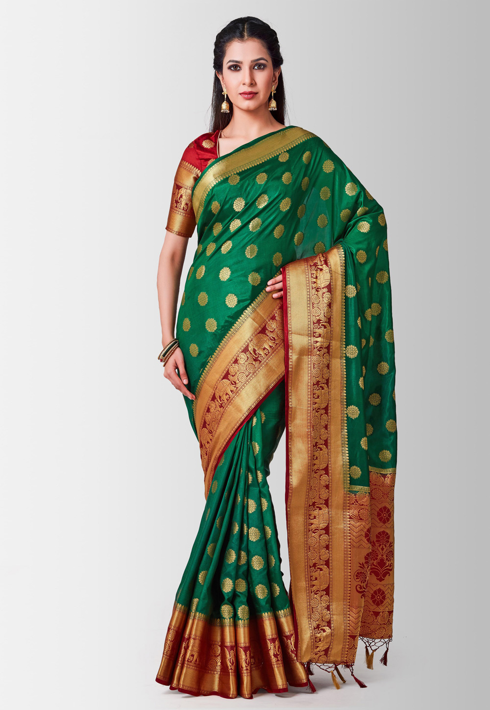 Green Silk Festival Wear Saree 186001