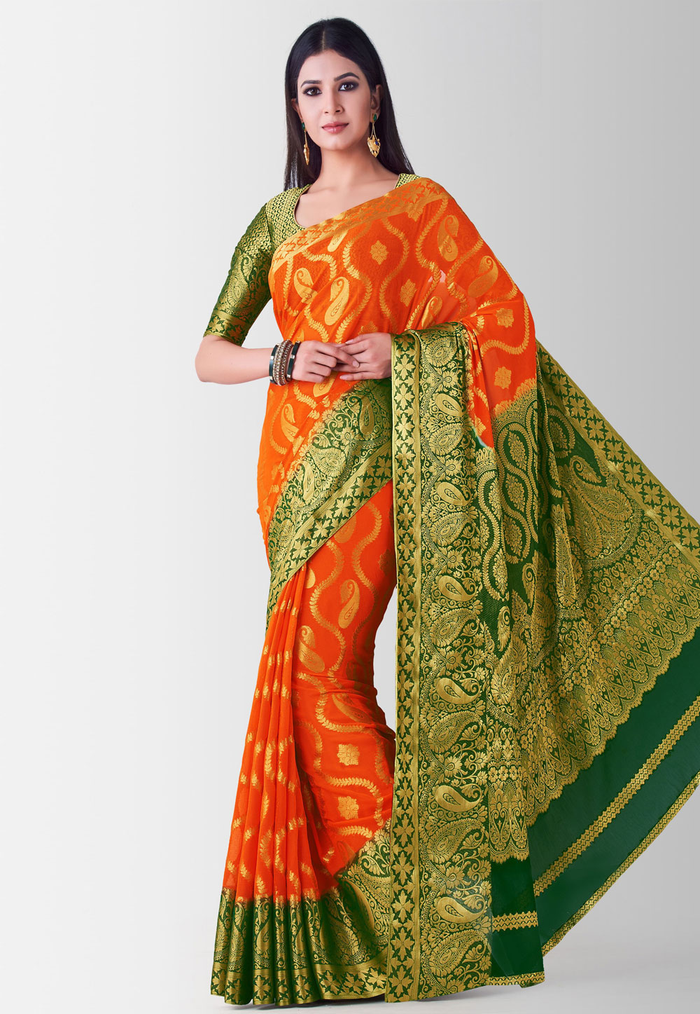 Orange Crepe Festival Wear Saree 186007