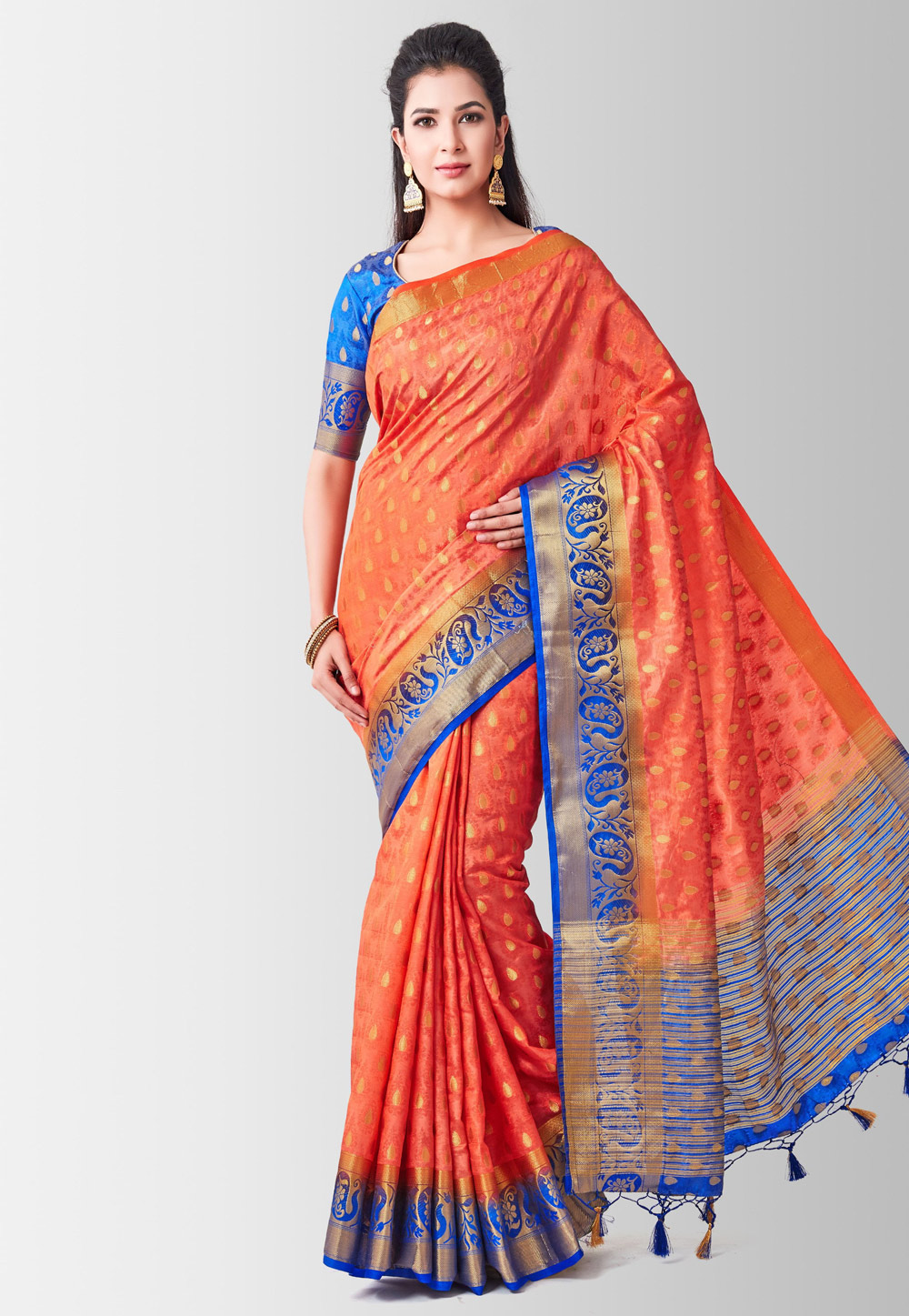 Orange Kanjivaram Silk Festival Wear Saree 186009