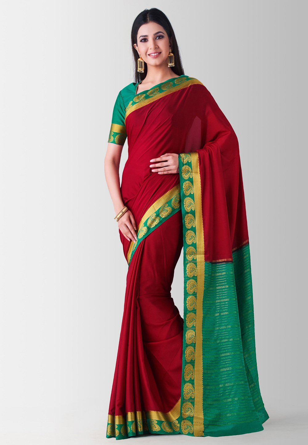 Maroon Crepe Saree With Blouse 186010