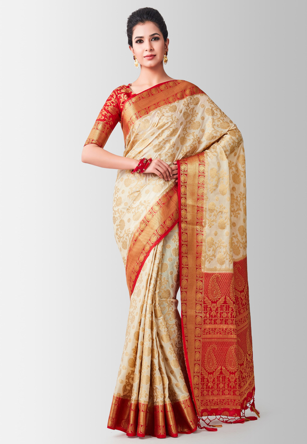 Beige Kanjivaram Silk Saree With Blouse 186012