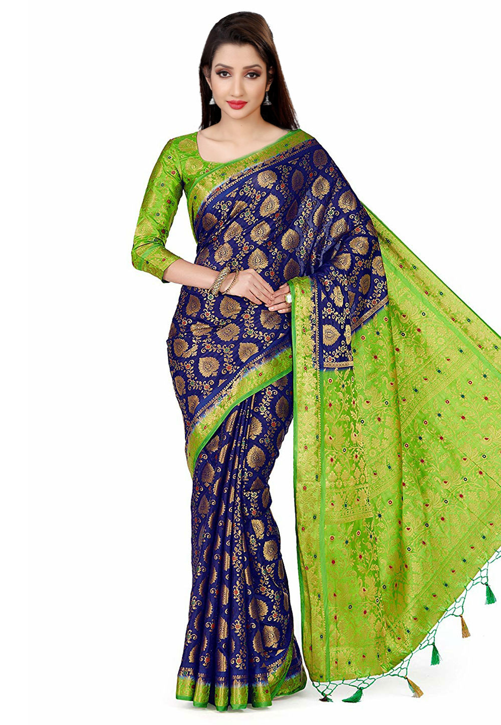 Blue Kanjivaram Silk Saree With Blouse 167390