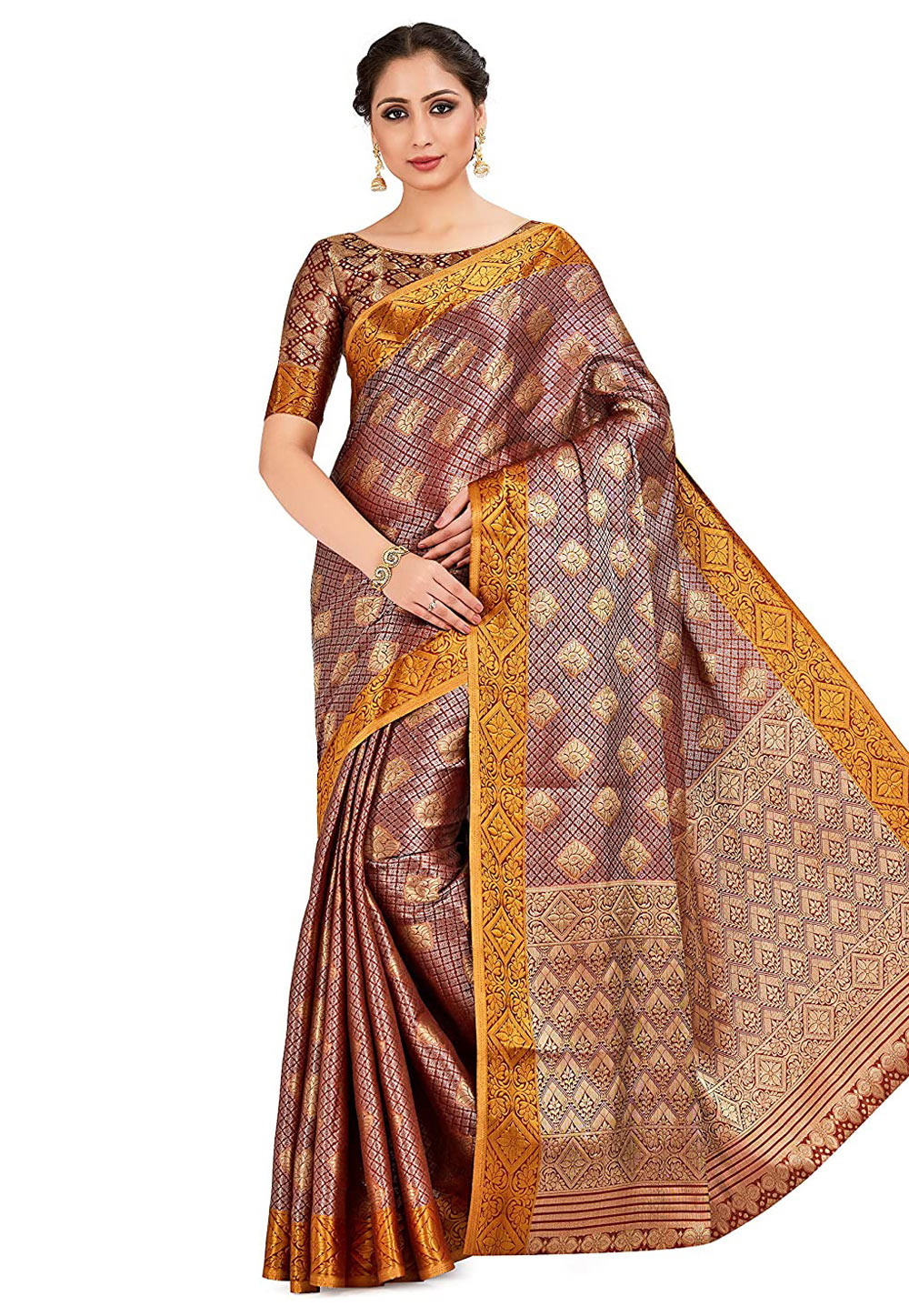 Brown Banarasi Saree With Blouse 201464