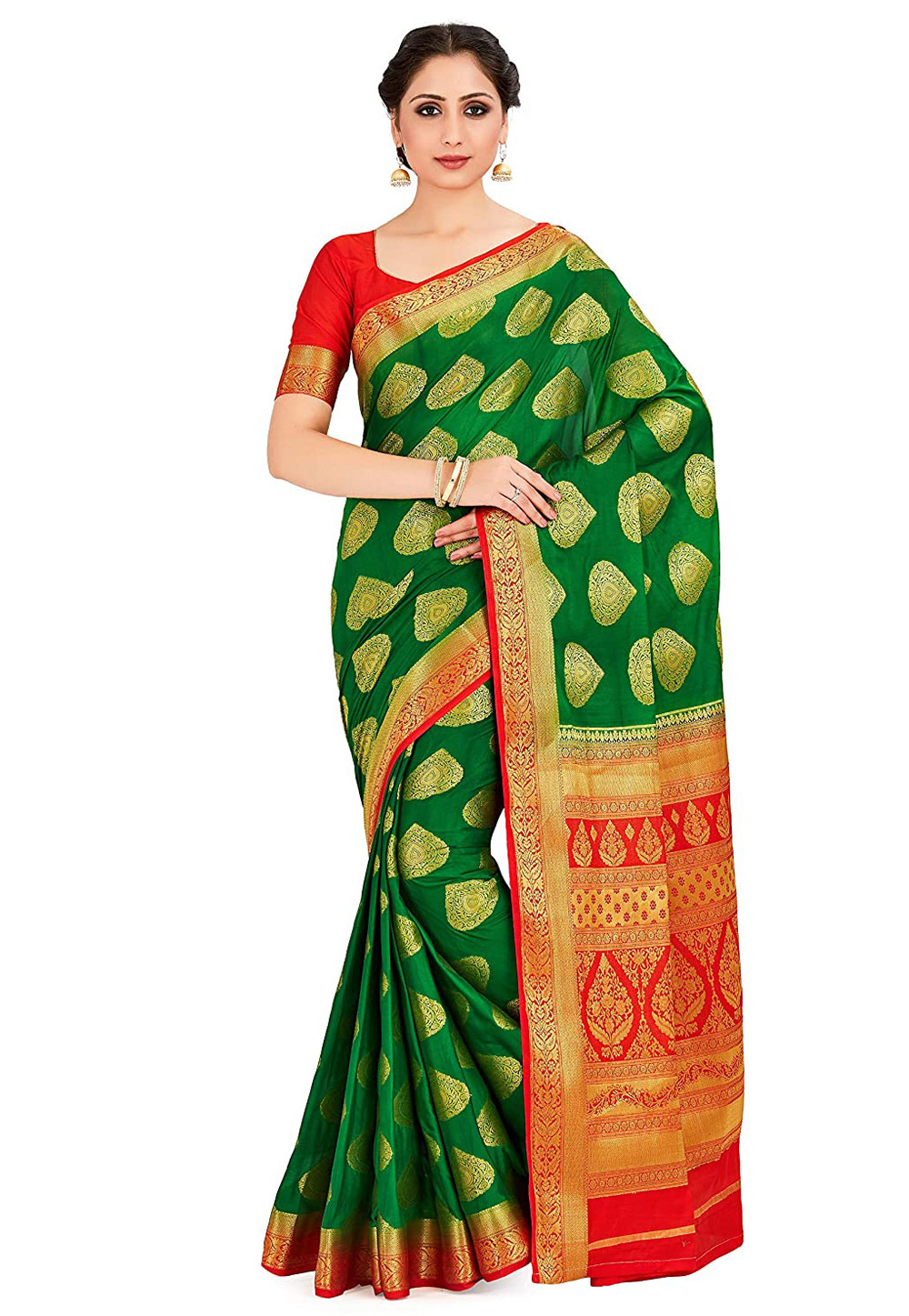 Green Crepe Saree With Blouse 201490