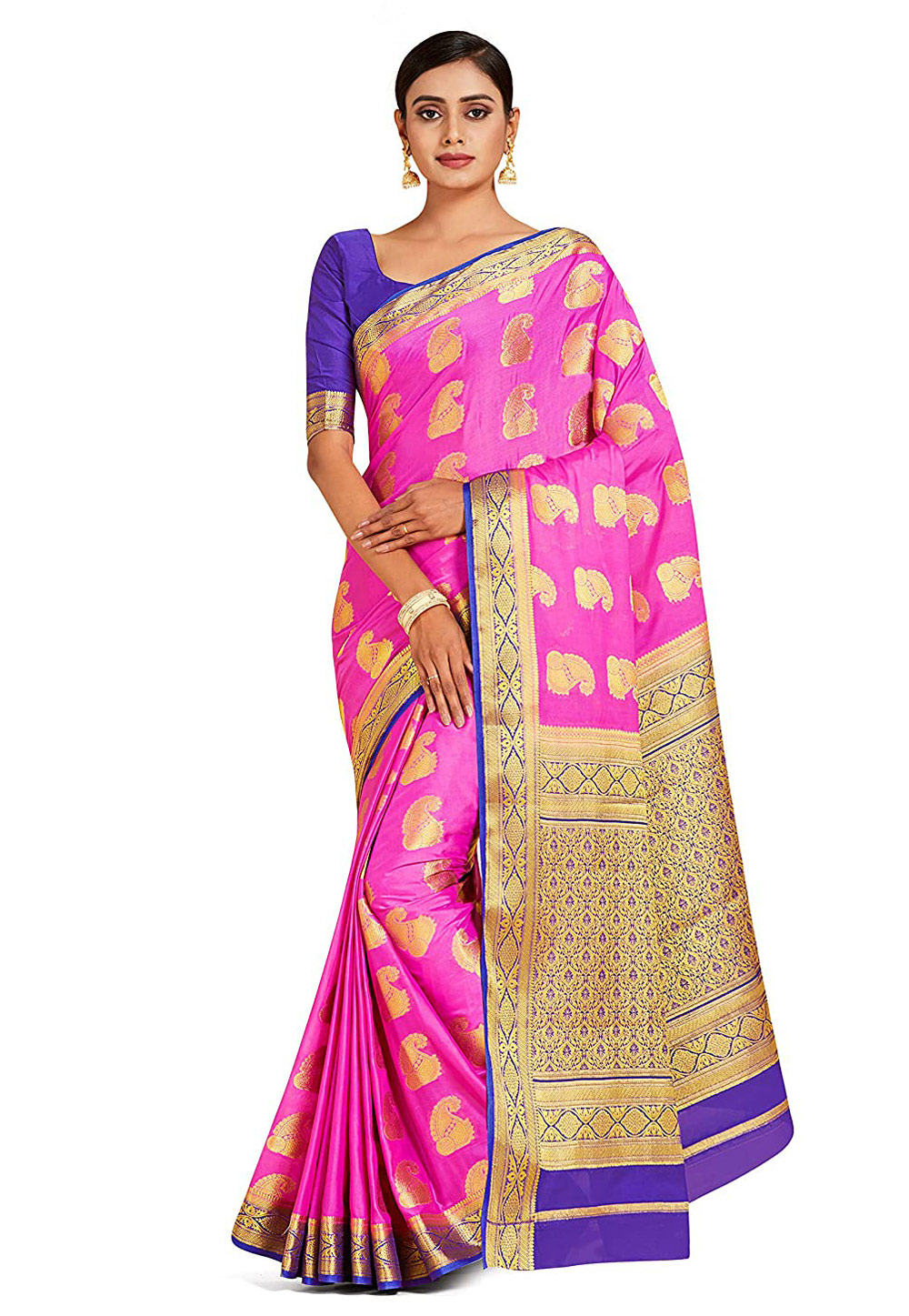 Pink Crepe Saree With Blouse 201496