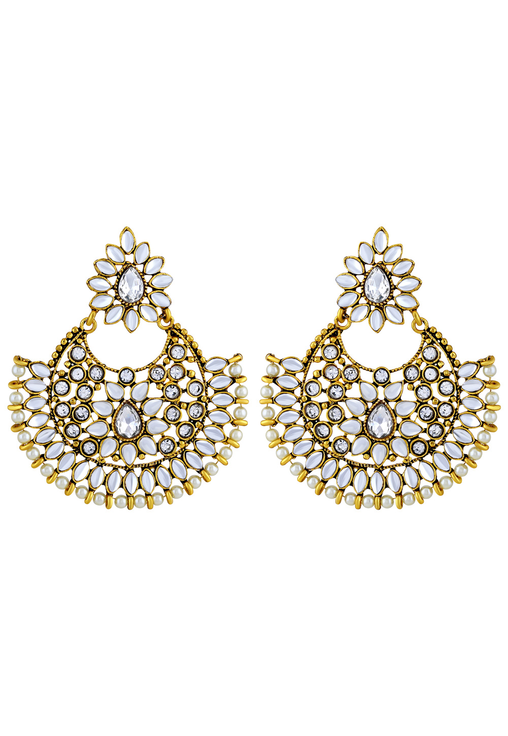 White Zinc Kundan Earrings 191244