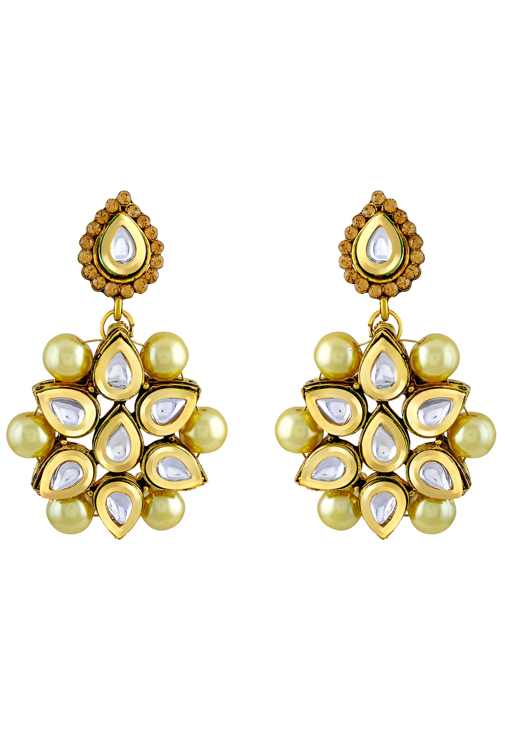 White Zinc Kundan Earrings 191254