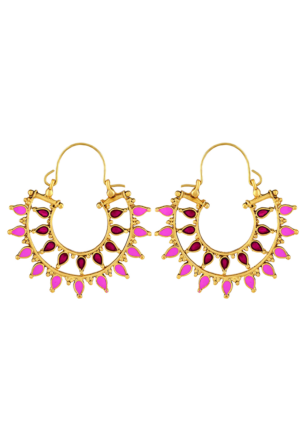 Pink Zinc Kundan Hoop Earrings 191256