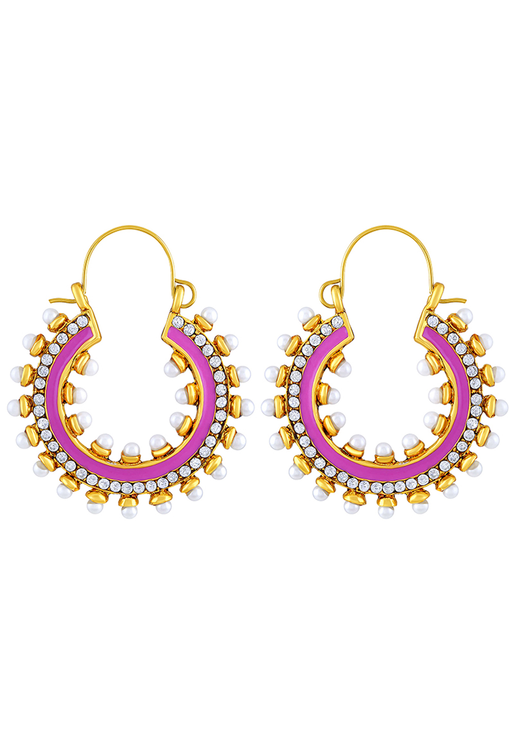 Pink Zinc Kundan Hoop Earrings 191257
