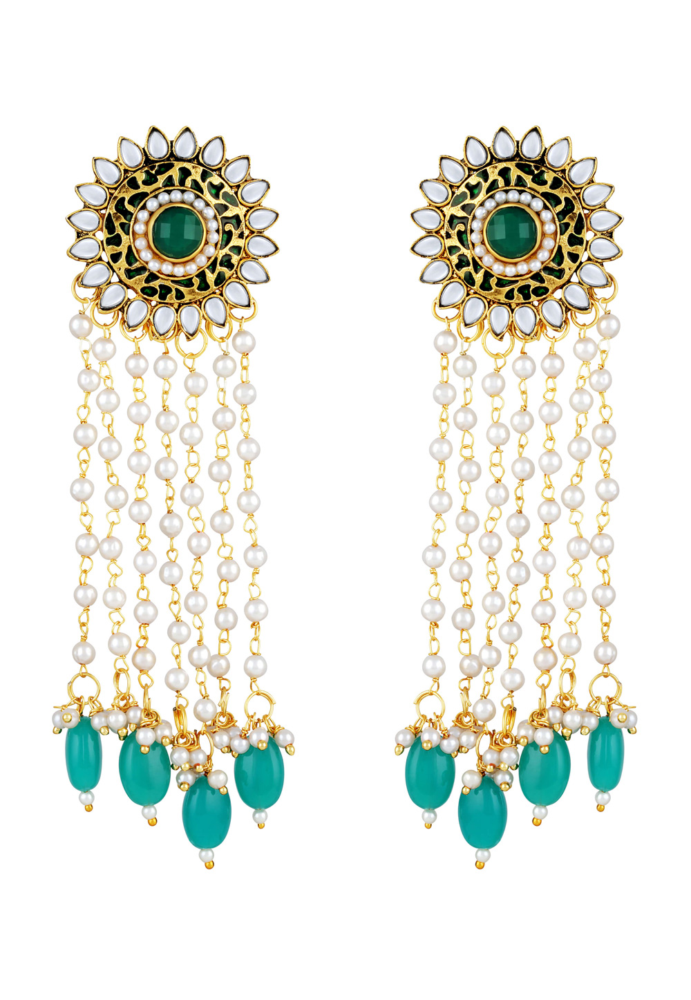 Green Zinc Kundan Drops Earrings 191264