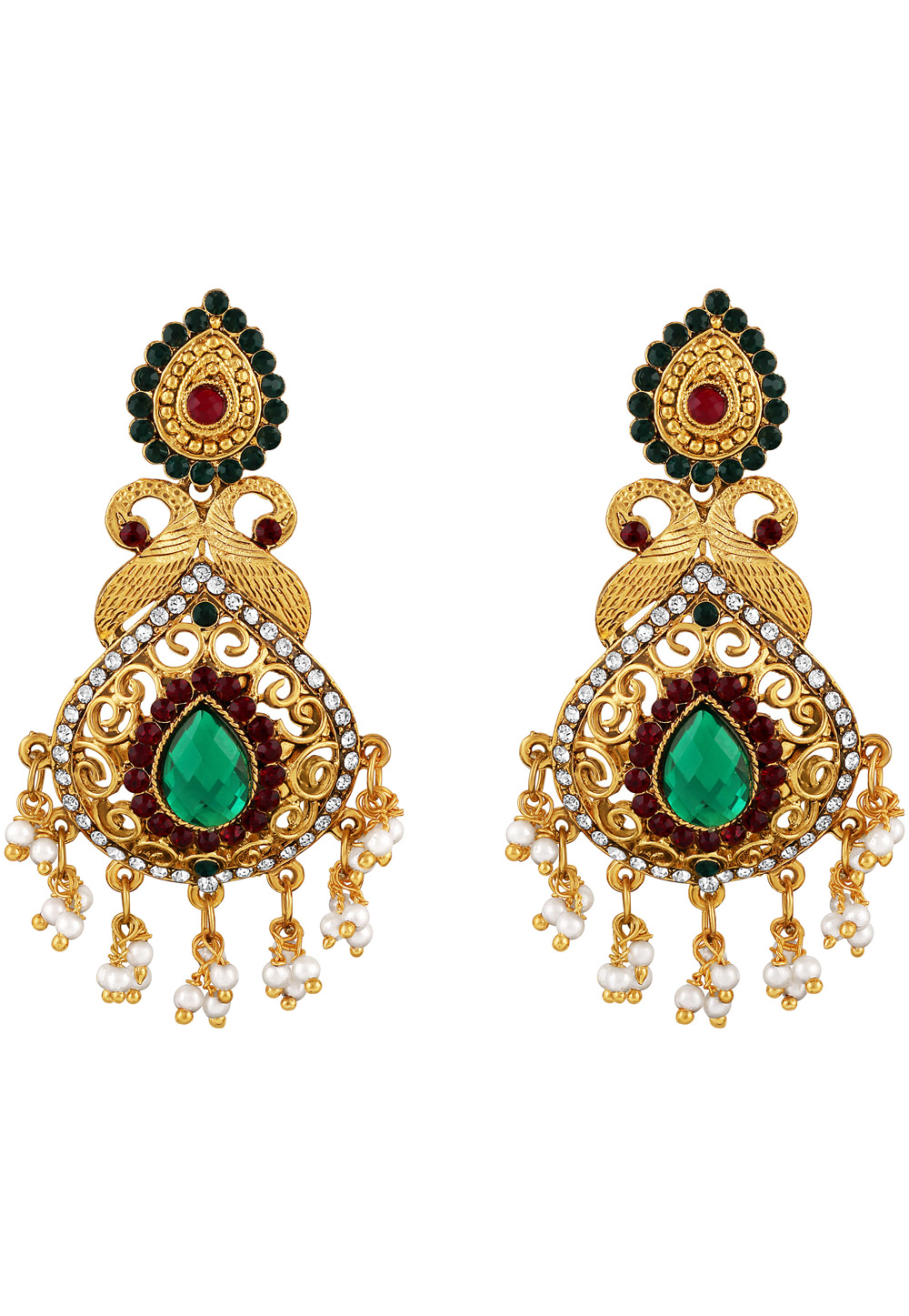 Golden Zinc Kundan Drops Earrings 191269