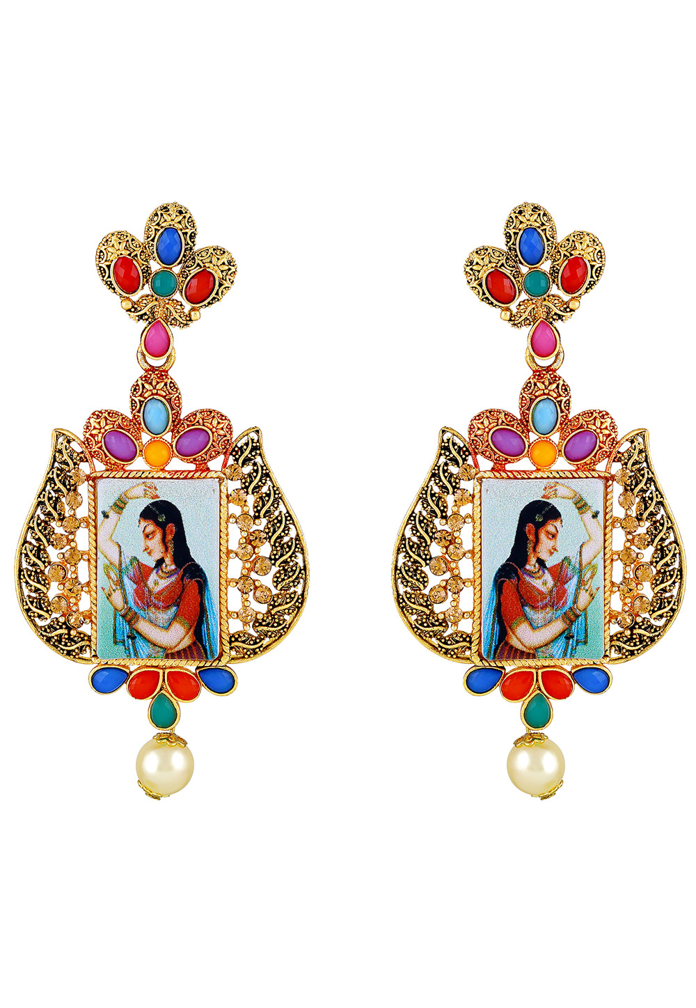 Golden Zinc Kundan Drops Earrings 191278