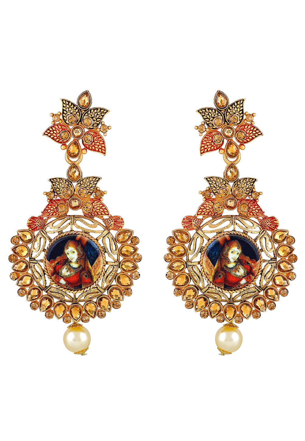 Golden Zinc Kundan Drops Earrings 191279