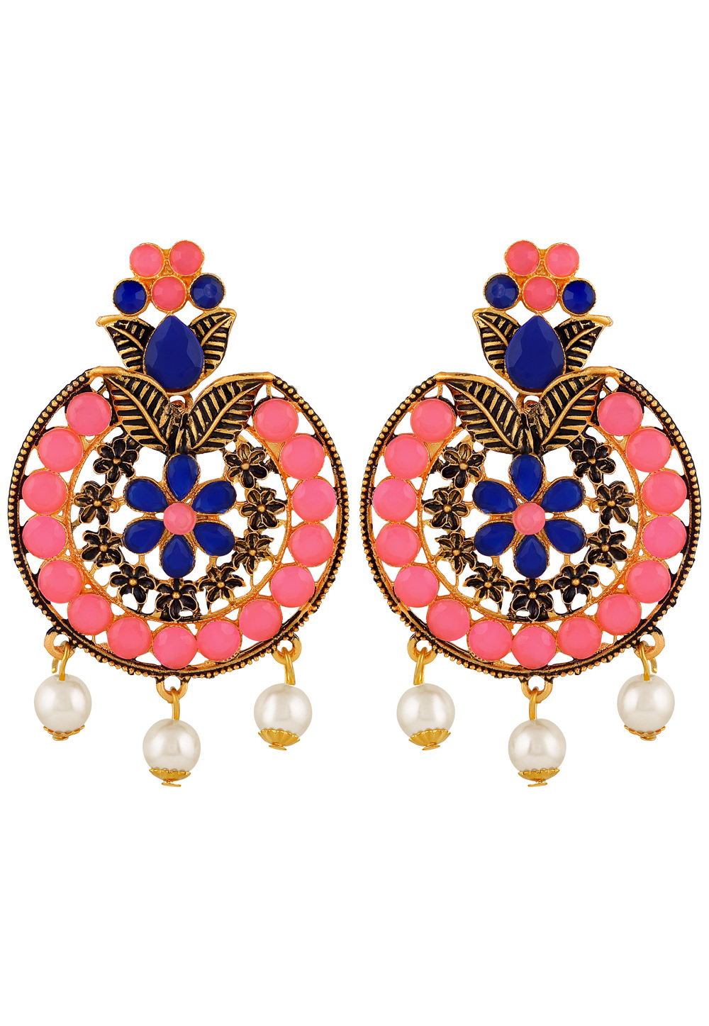 Pink Zinc Kundan Drops Earrings 191292