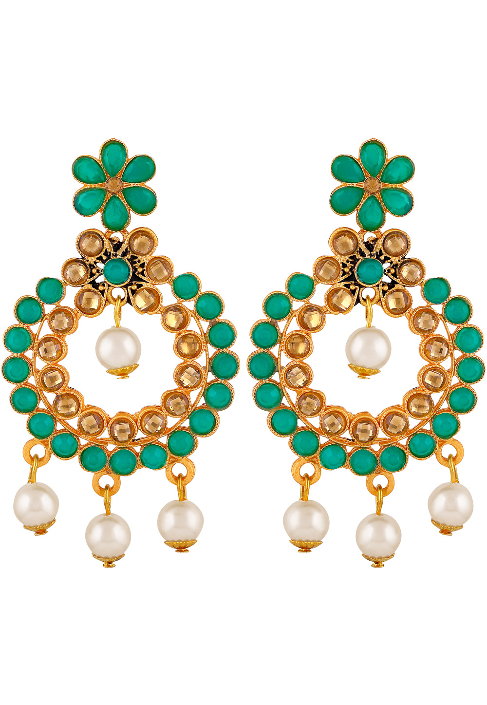 Green Zinc Kundan Drops Earrings 191293