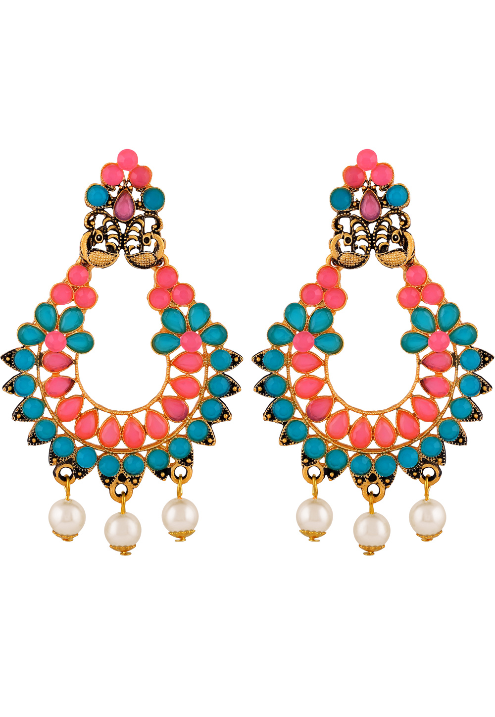 Blue Zinc Kundan Drops Earrings 191295