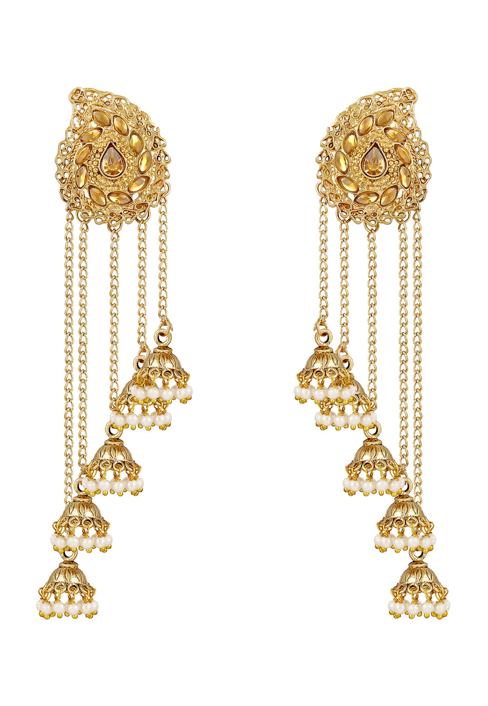 Golden Zinc Kundan Drops Earrings 191333