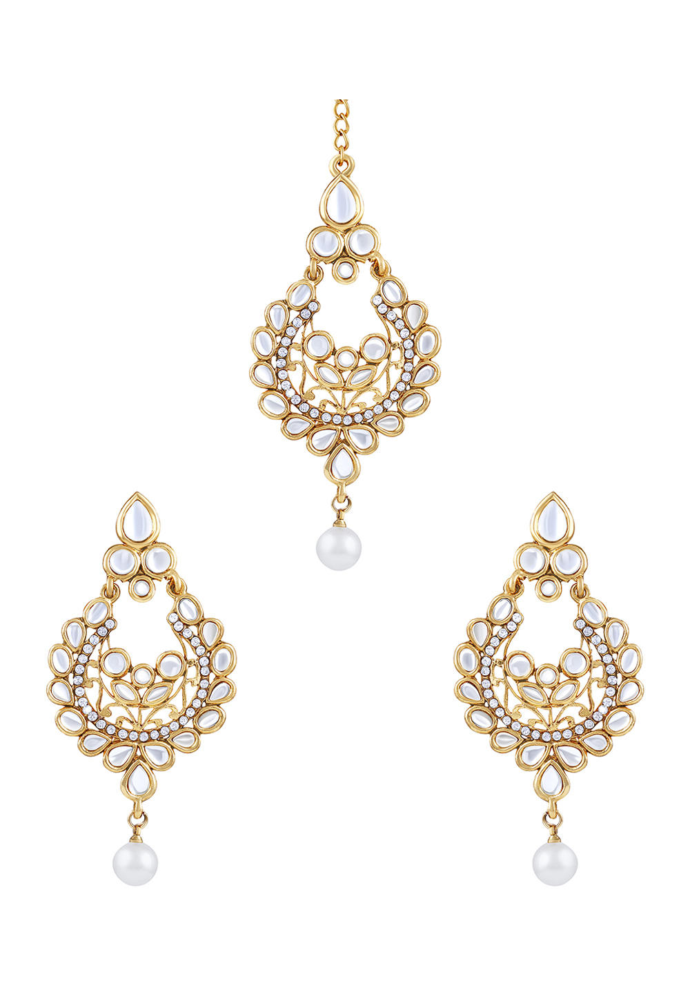 White Zinc Kundan Drops Earrings 191349