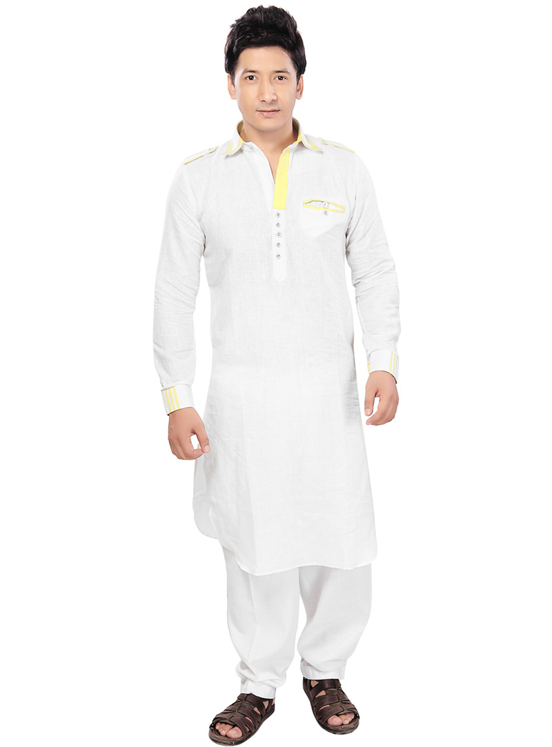 White Linen Readymade Pathani Suit 71775