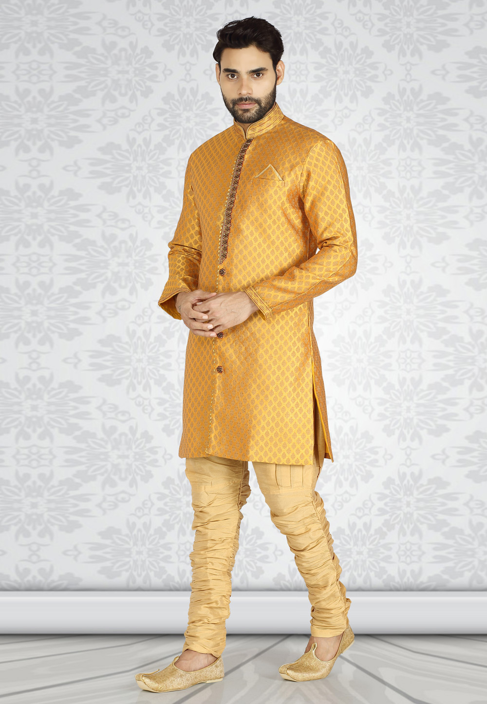 Yellow Brocade Readymade Indo Western Suit 185257