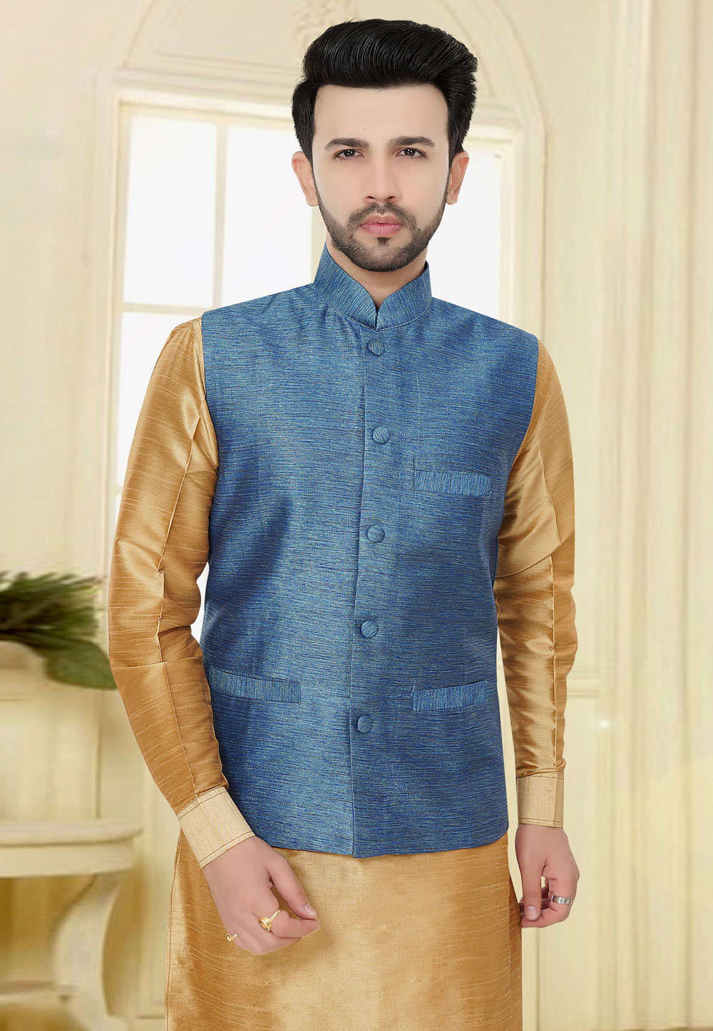 Blue Jacquard Readymade Nehru Jacket 160611