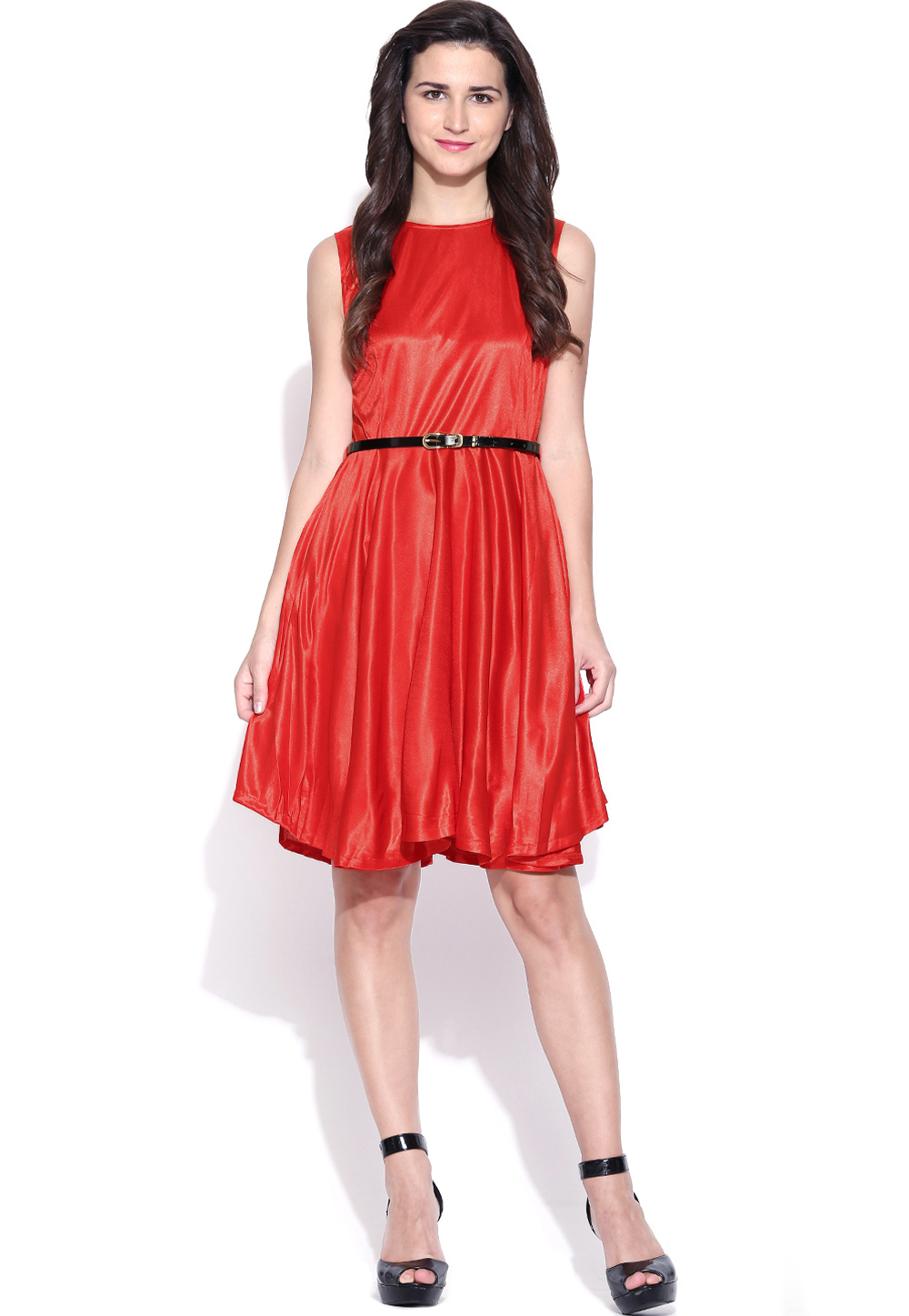 Red Polyester Readymade Party Wear Tops 188719