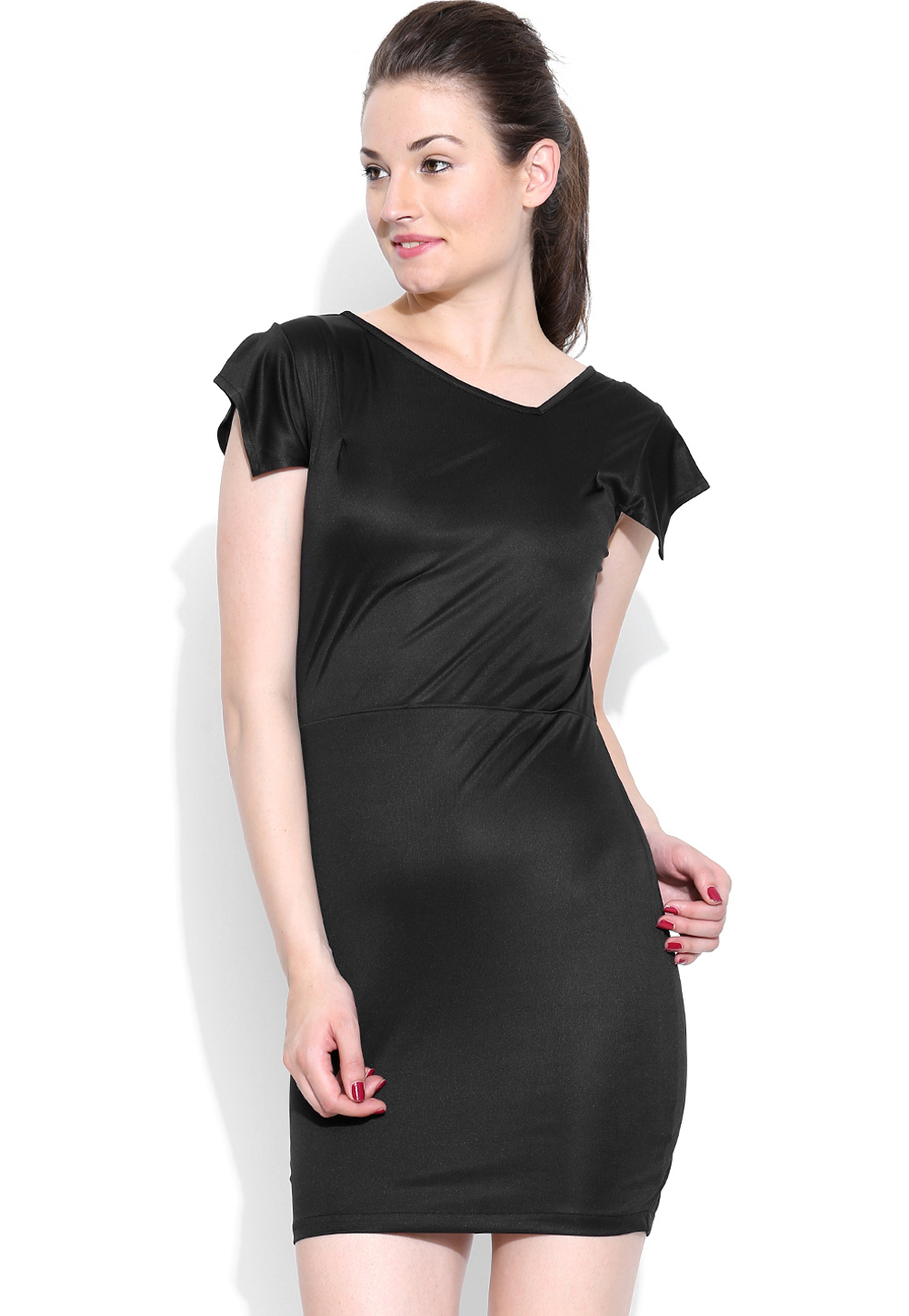 Black Polyester Readymade Party Wear Tops 188723