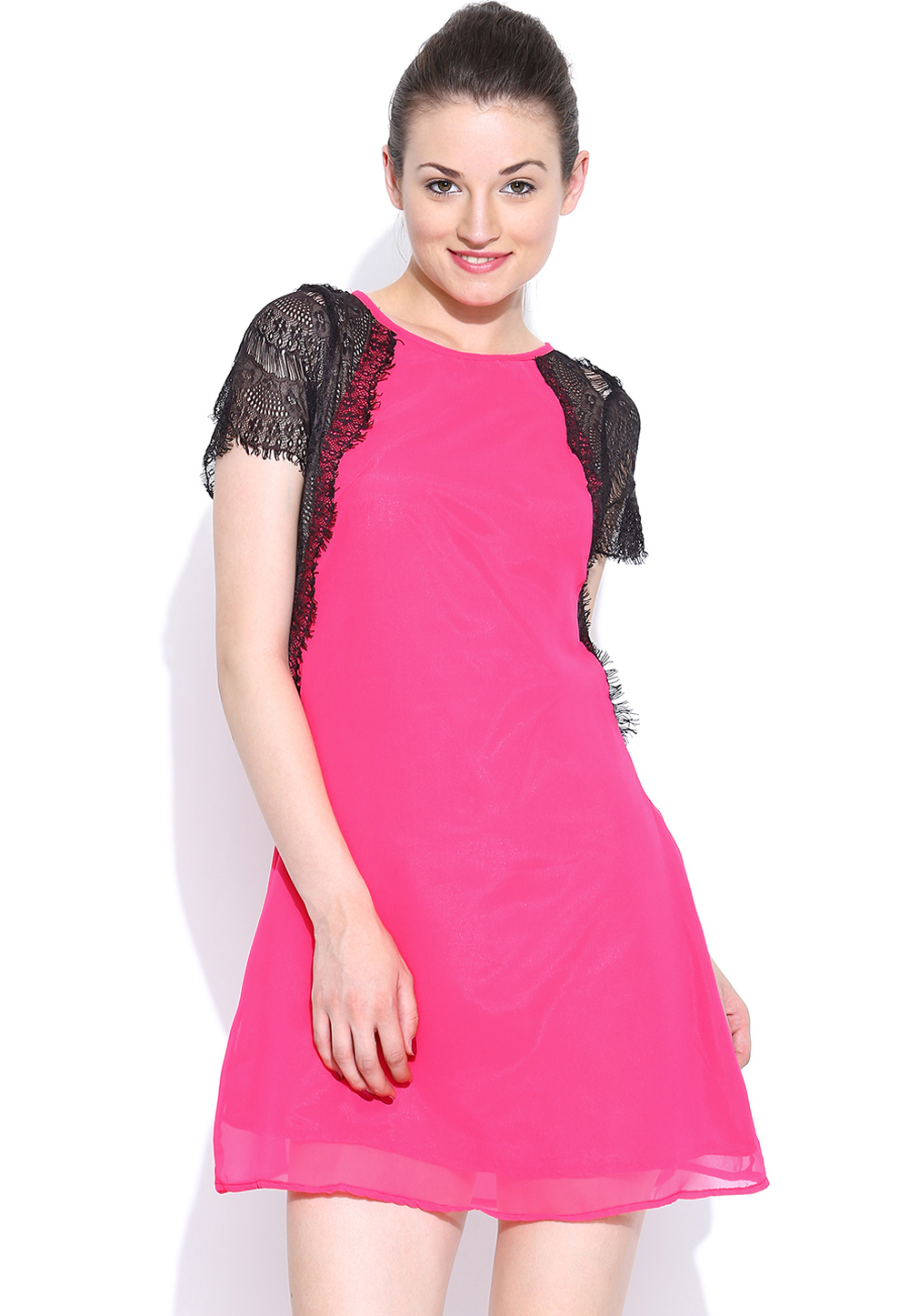 Pink Polyester Readymade Tops 188728