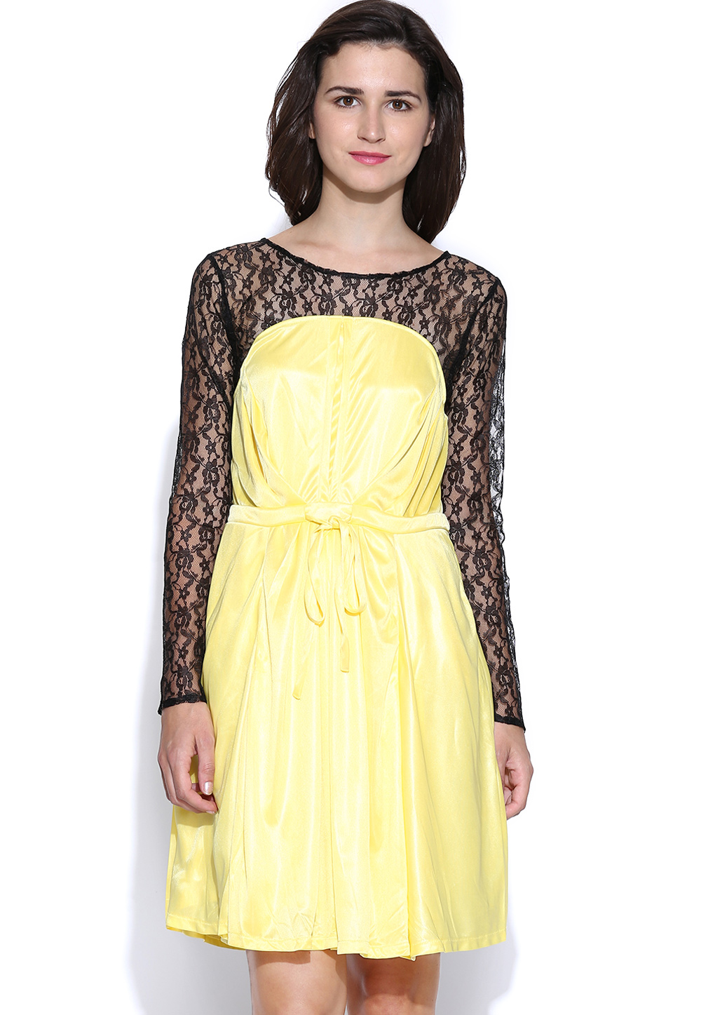 Yellow Lycra Readymade Party Wear Tops 188729
