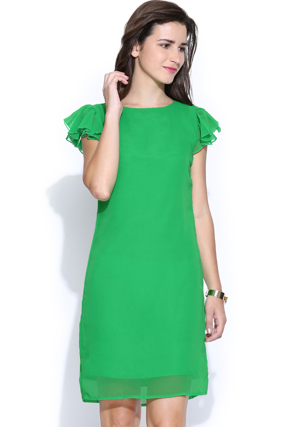 Green Polyester Readymade Tops 188731