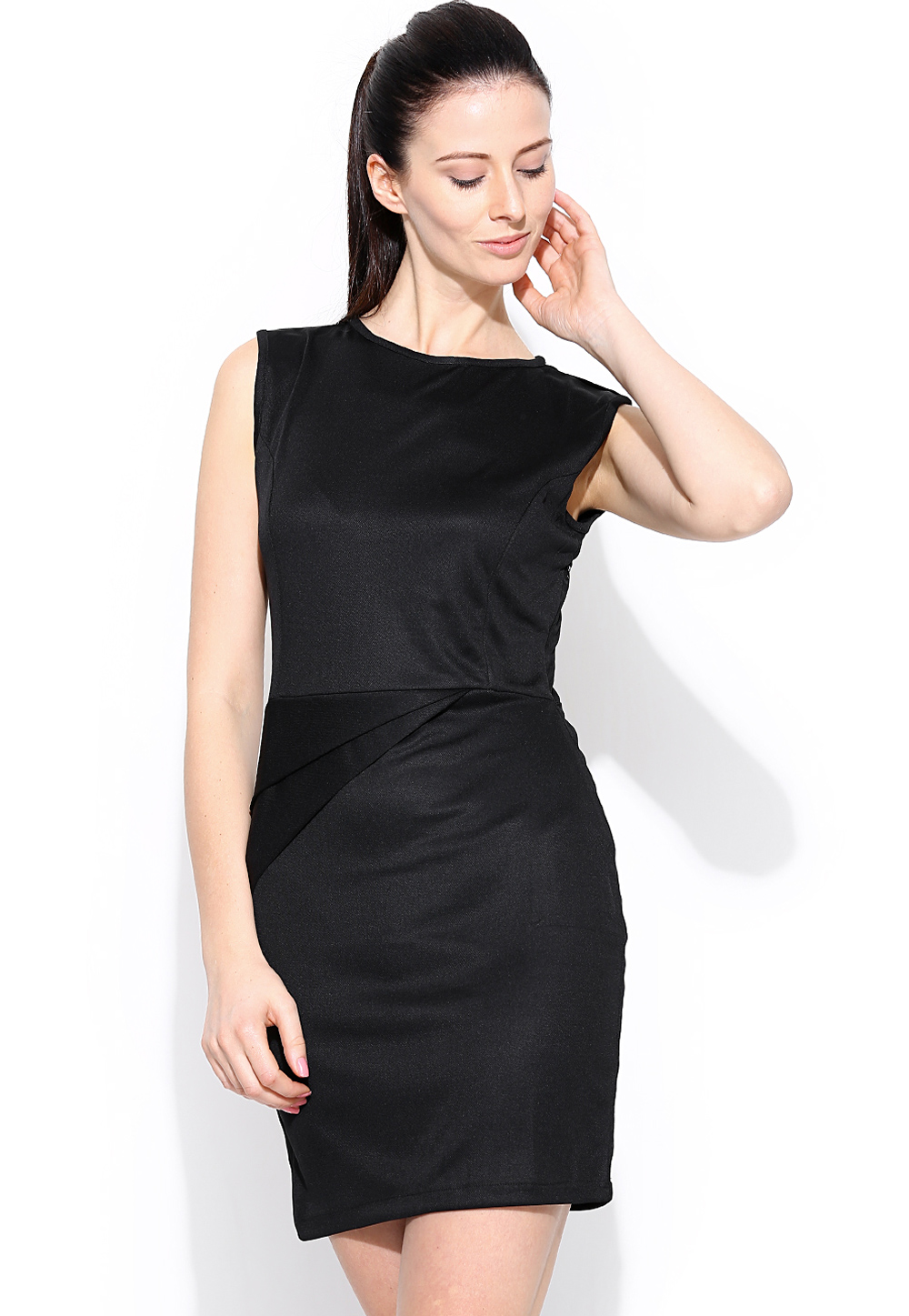 Black Polyester Readymade Party Wear Tops 188733