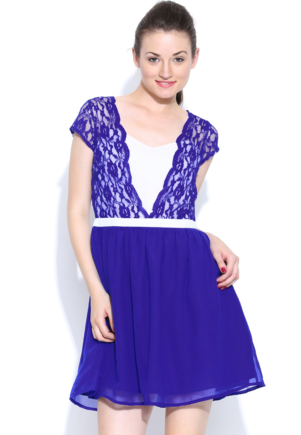 Blue Faux Georgette Readymade Tops 188736