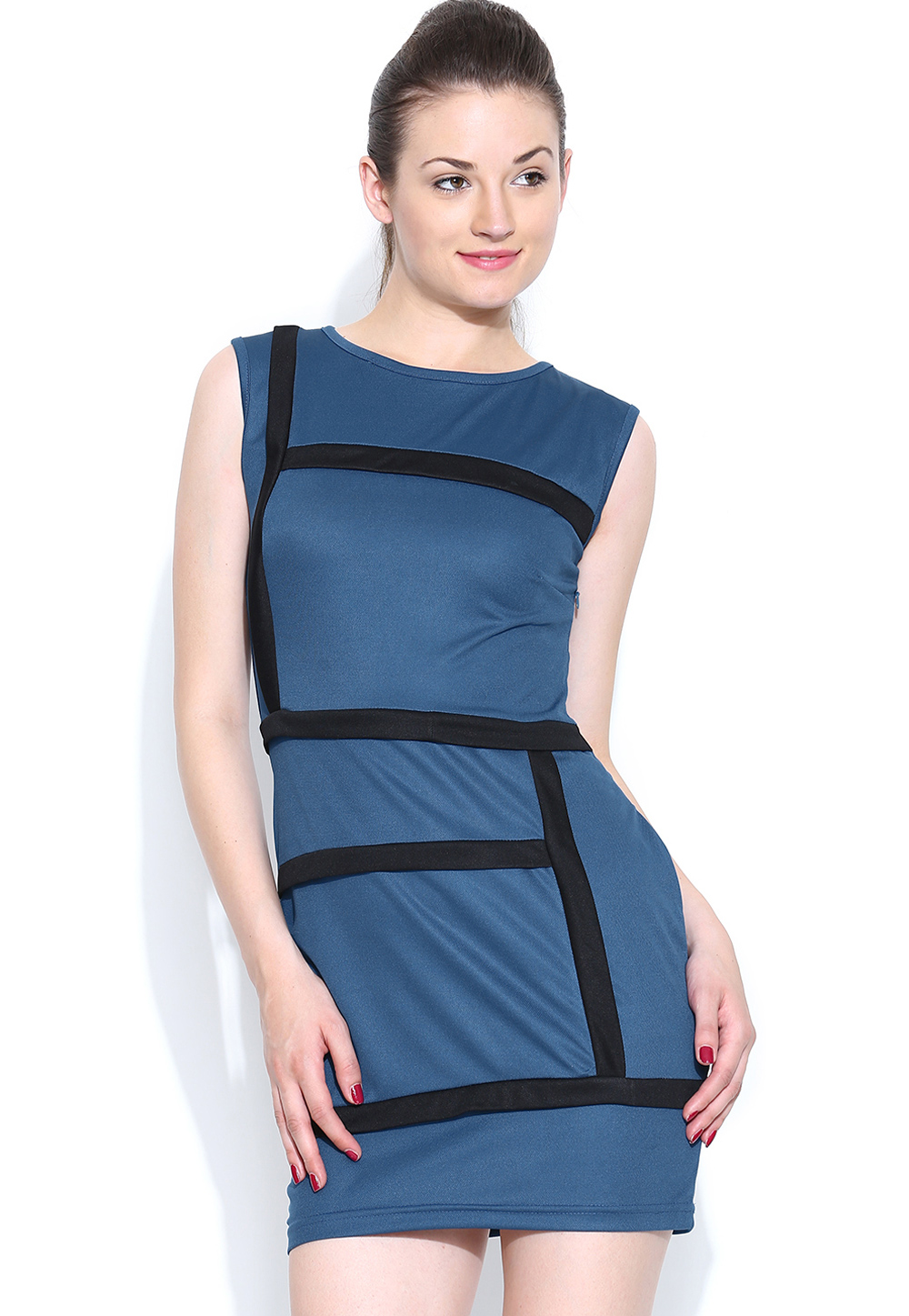 Blue Polyester Party Wear Tops 188739
