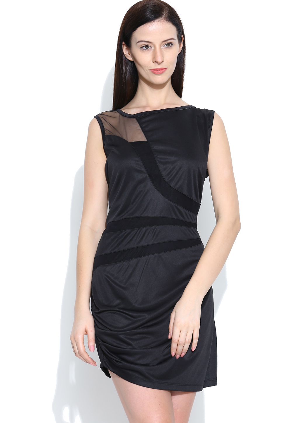 Black Polyester Readymade Party Wear Tops 188741