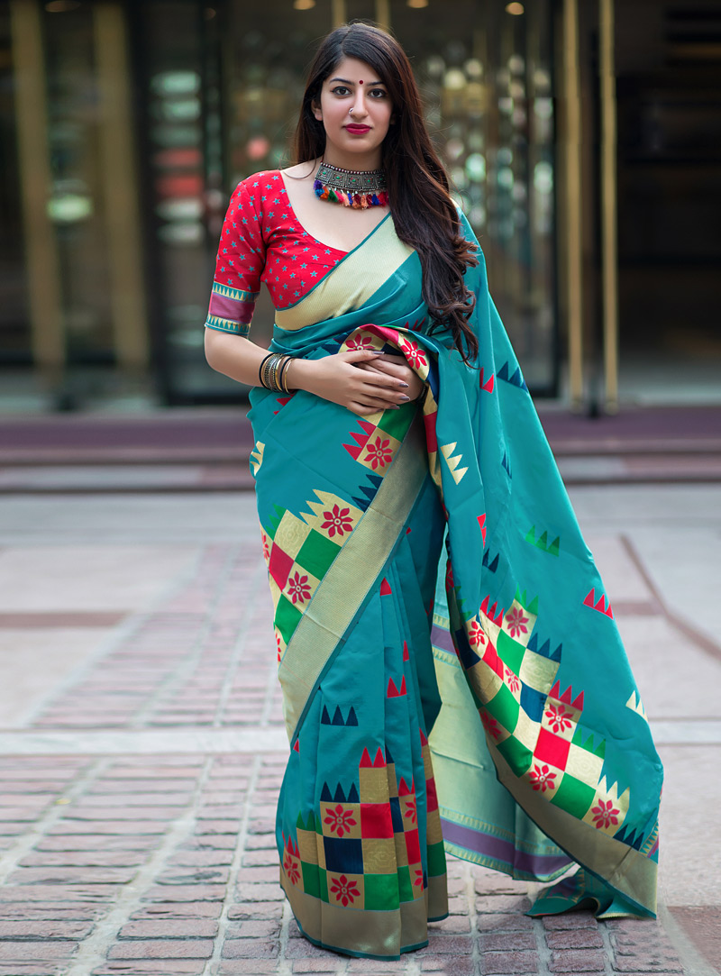 Aqua Banarasi Silk Saree With Blouse 153491