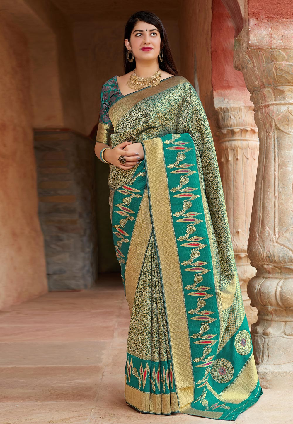 Turquoise Banarasi Silk Saree With Blouse 186187