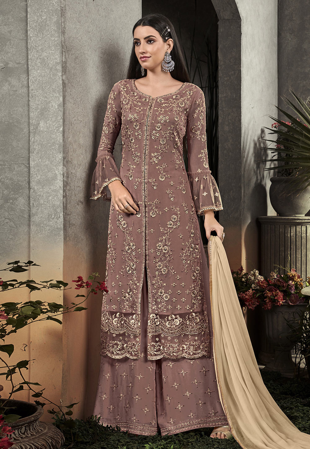 Brown Georgette Palazzo Suit 193184