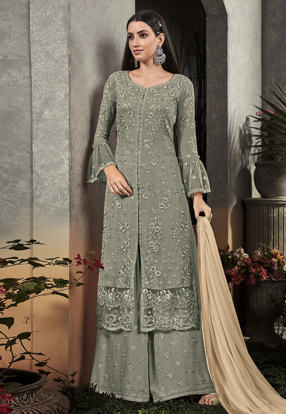 Light Green Georgette Kameez With Palazzo 193185