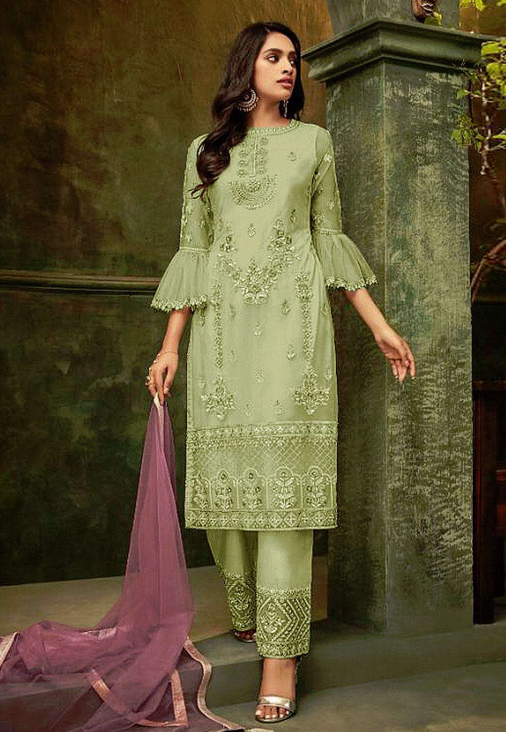 Light Green Net Embroidered Pant Style Suit 193191
