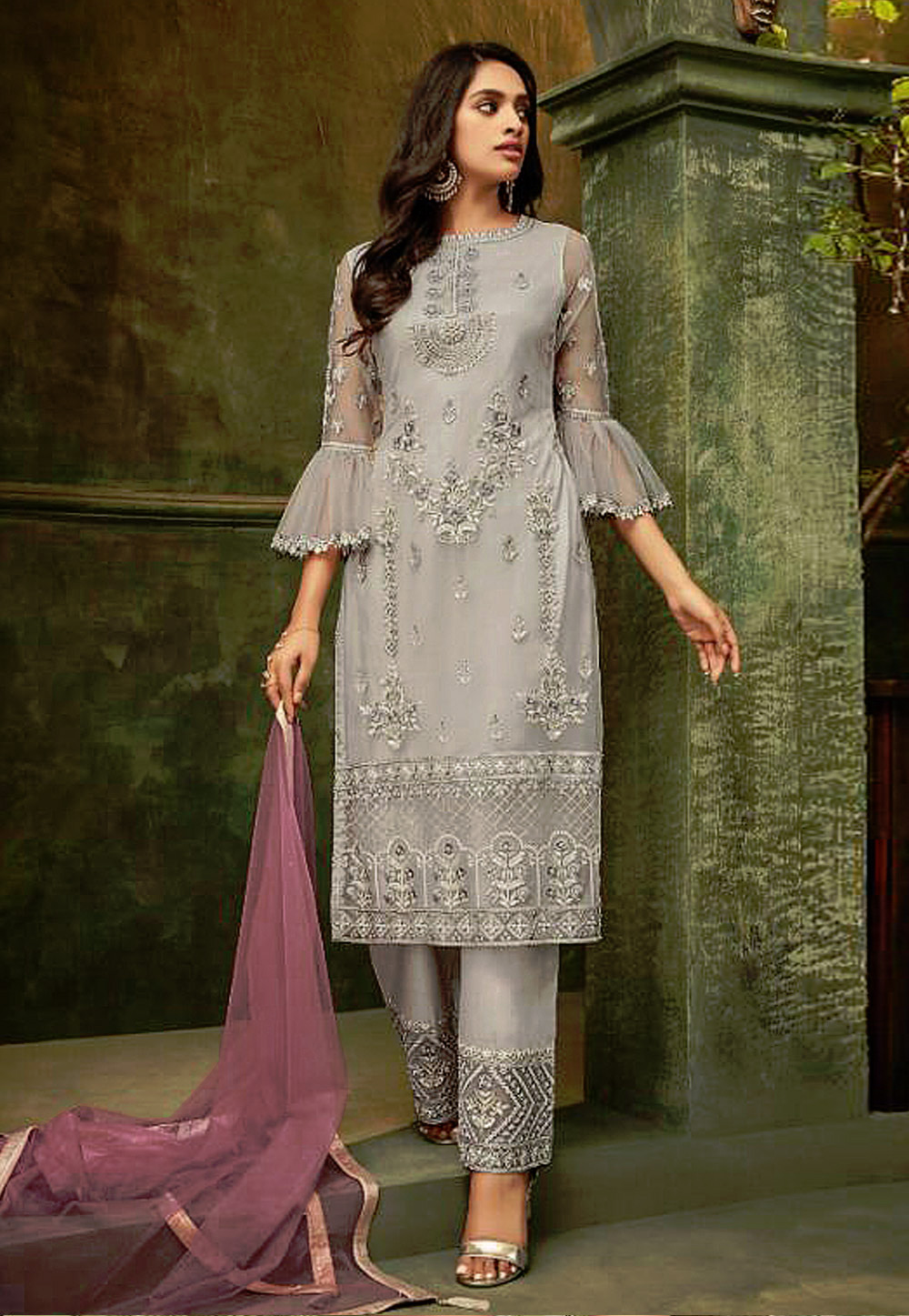 Grey Net Embroidered Kameez With Pant 193192