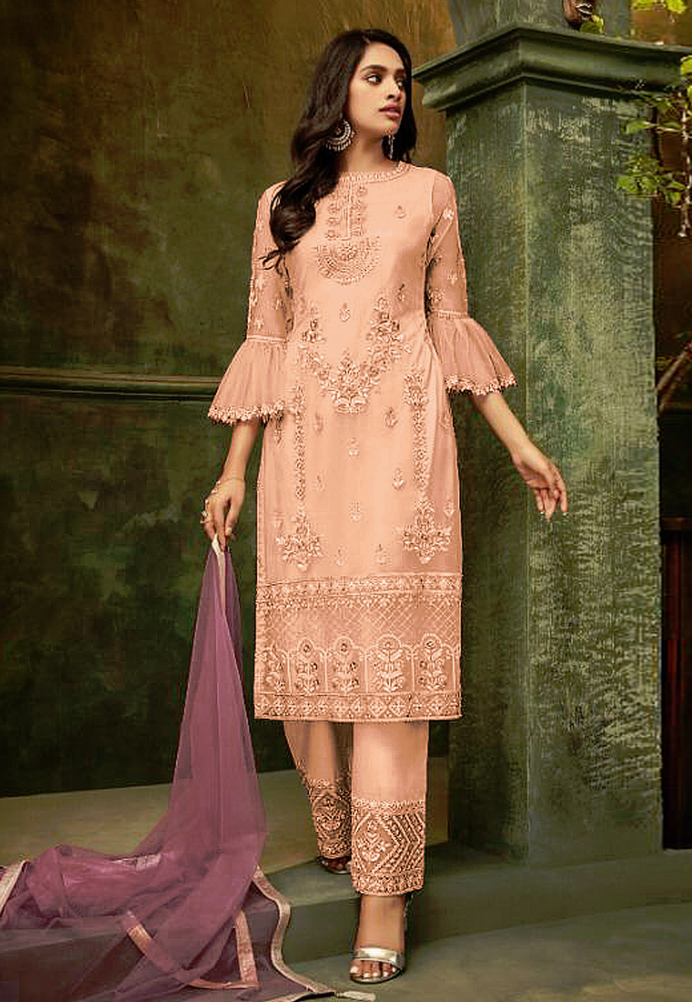 Peach Net Embroidered Pant Style Suit 193193