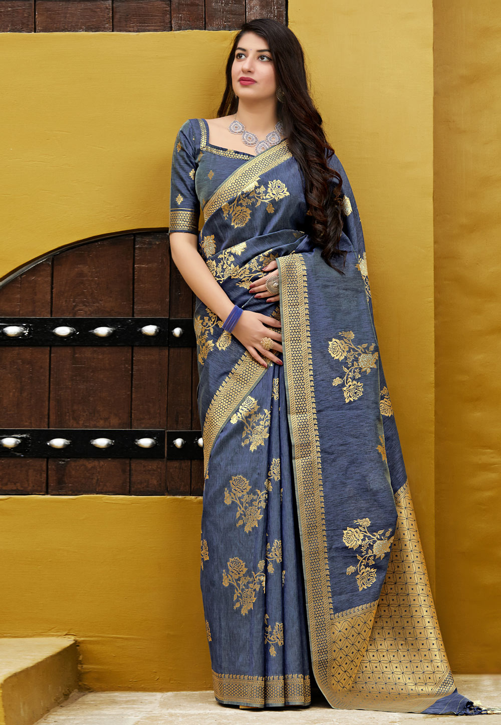 Blue Banarasi Festival Wear Saree 195339
