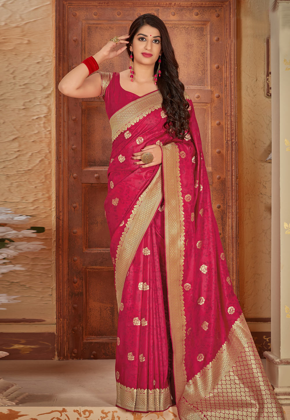 Pink Banarasi Silk Saree With Blouse 197360