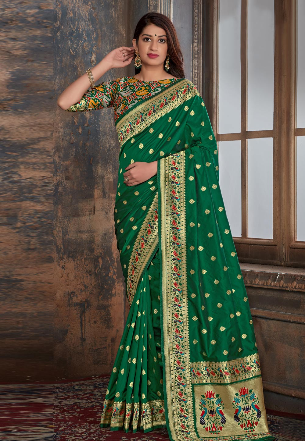Green Banarasi Silk Festival Wear Saree 199676