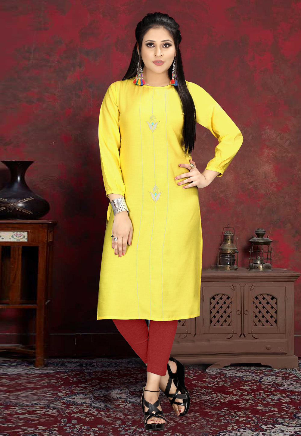 Yellow Rayon Readymade Handwork Tunic 210544