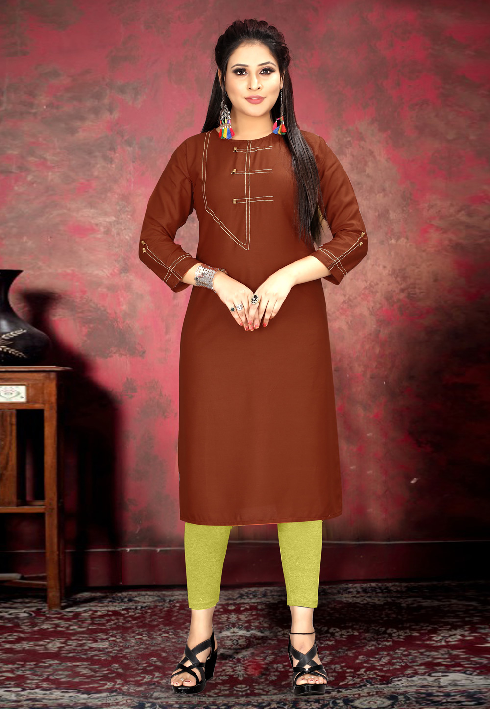 Rust Rayon Readymade Tunic 210549