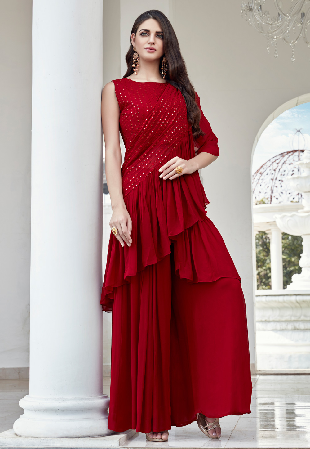 Magenta Georgette Readymade Palazzo Suit With Attached Dupatta 199889